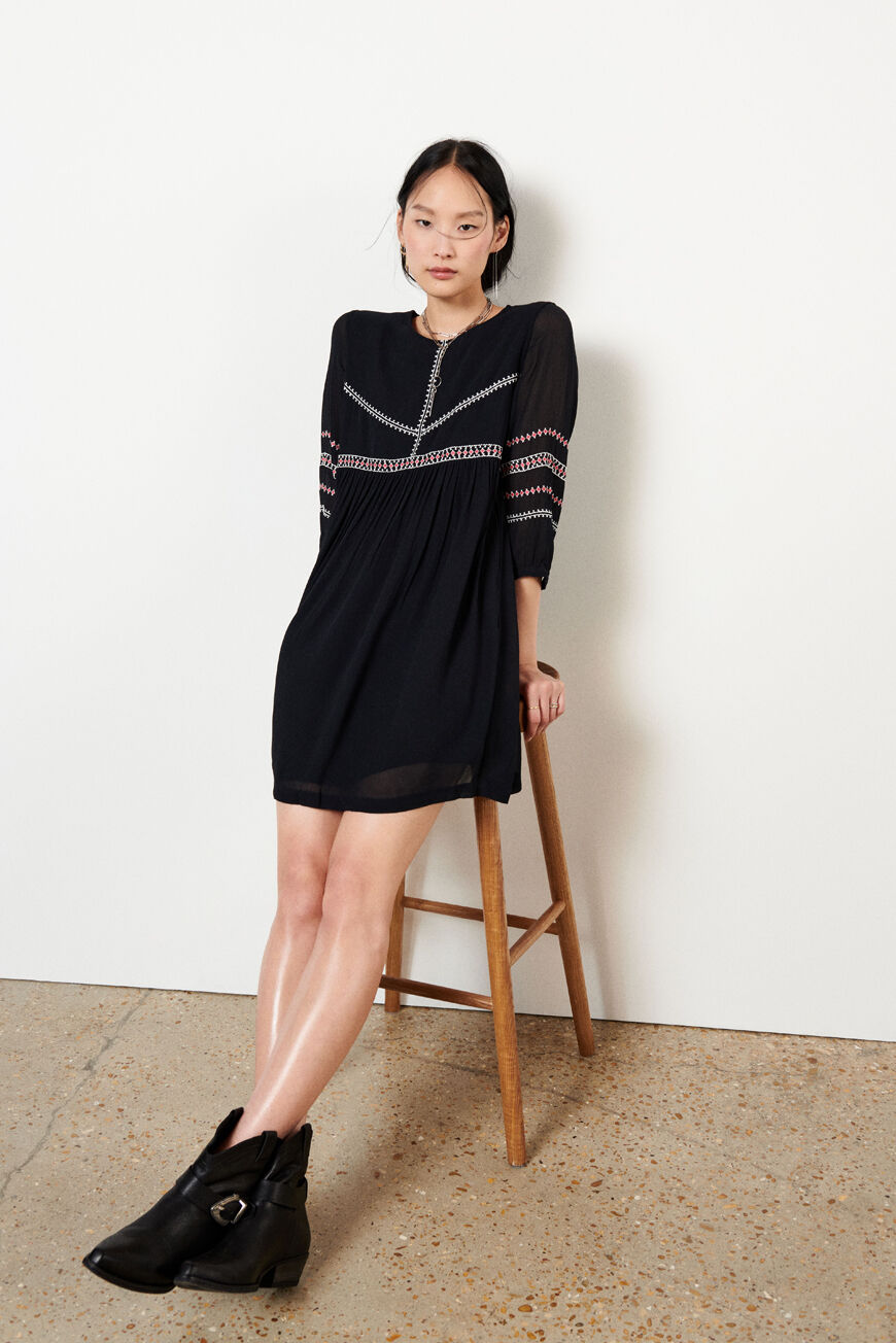 ROBE COLOMBE FALLING FOR FALL CARBONE BA&SH